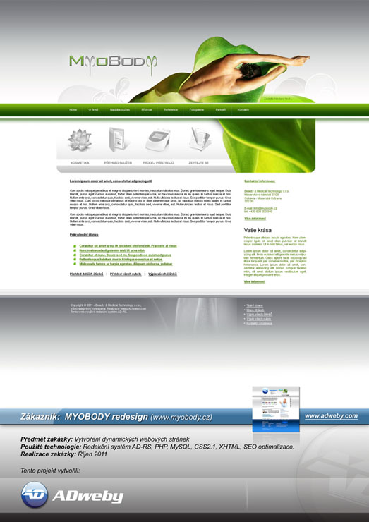 Reference Beauty & Medical Technology s.r.o. - MYOBODY (Redesign)